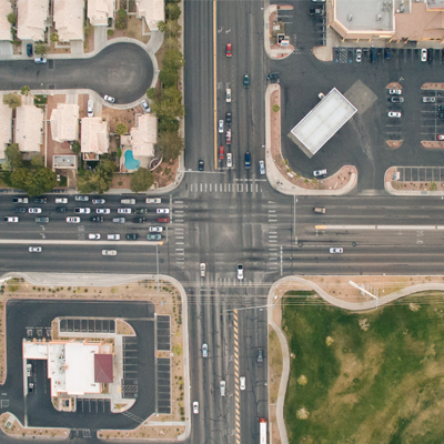 Intersection aerial shot