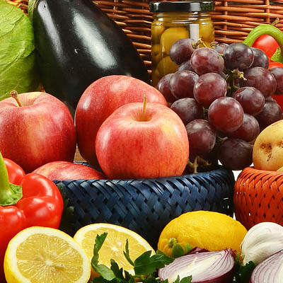 An image of assorted fruits and vegetables.