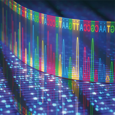 3D illustration of a method of DNA sequencing